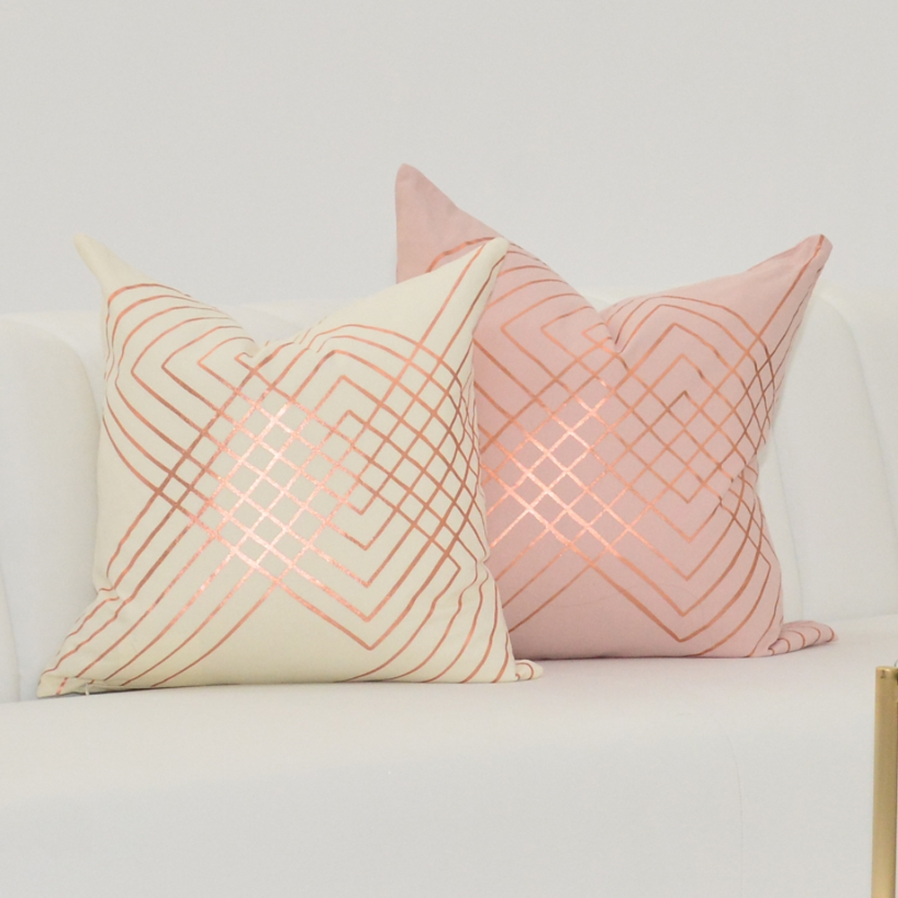 rose foil metallic pillow
